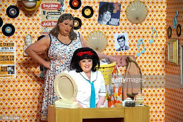 Pictured: Harvey Fierstein as Edna Turnblad, Maddie Baillio as Tracy Turnblad --