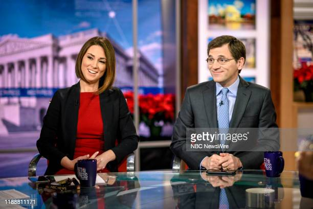"""Pictured: -- Heidi Przybyla, NBC News Correspondent, and Peter Baker Chief White House Correspondent, The New York Times, appear on Meet the Press""""..."""