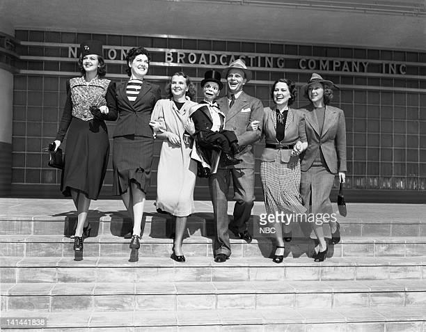 Pictured: Helen Wood, Jean Rouverol, Marion Talley, Charlie McCarthy , Edgar Bergen, Madaline Lee, Kay St. Germain on October 2, 1938 -- Photo by:...