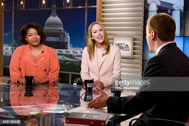 Helene Cooper Pentagon Correspondent The New York Times Kimberley Strassel Columnist The Wall Street Journal and moderator Chuck Todd appear on Meet...