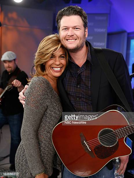 Hoda Kotb and singer Blake Shelton appear on NBC News' Today show on March 26 2013