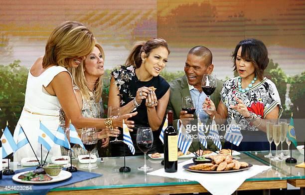 Hoda Kotb Kathie Lee Gifford Jennifer Lopez Benny Medina and Bren Herrera appear on NBC News' Today show