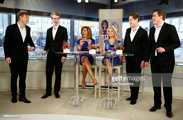 Hoda Kotb Kathie Lee Gifford with barbershop quartet The Ringmasters appear on NBC News' Today show