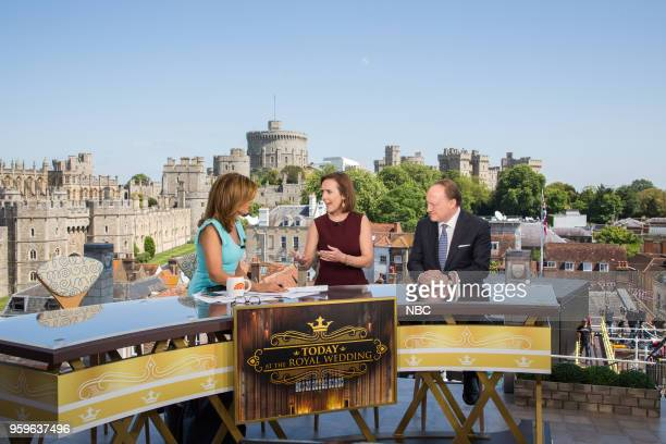 Hoda Kotb NBC royal editor Camilla Tominey and British historian Andrew Roberts on the TODAY show set for the wedding of Prince Harry and Meghan...