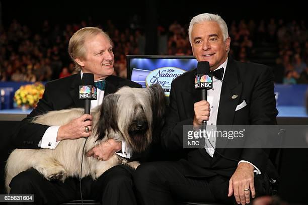 Host David Frei 2015 Best in Show winner Good Time Charlie the Skye Terrier Host John O'Hurley