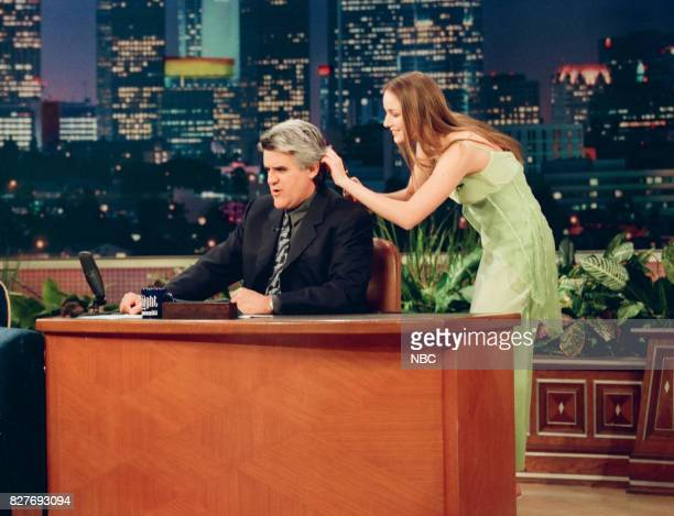 Host Jay Leno during an interview with actress Lee Lee Sobieski on April 7 1999