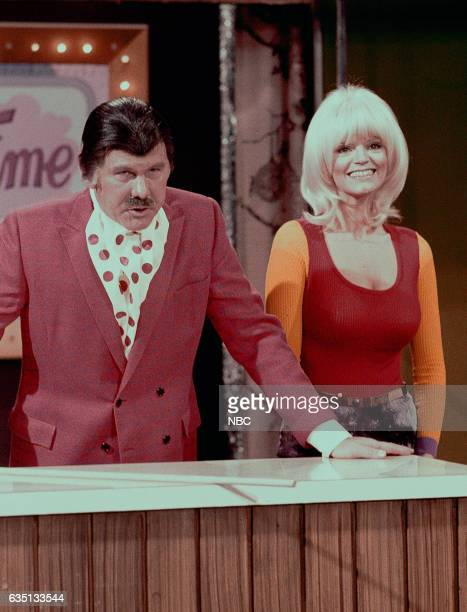 Host Johnny Carson and Assistant Carol Wayne during sketch on February 14th 1972
