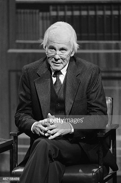 Host Johnny Carson as Mr Eilliot Gangway during a sketch on October 23 1987
