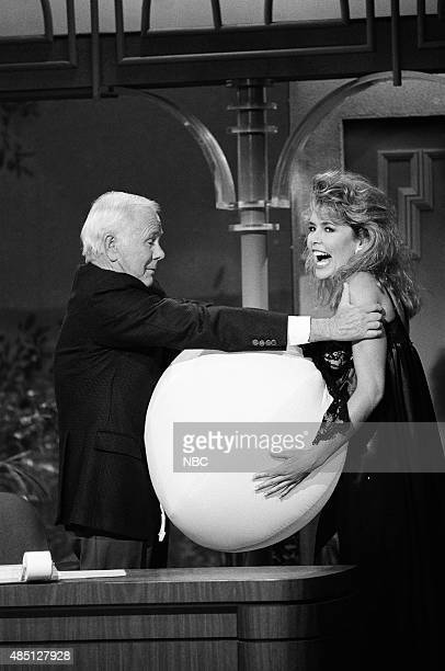 Host Johnny Carson during the 'Predictions Scientists Have Made About Things We Will Have In Our Home In The Year 2000' sketch on January 18 1991