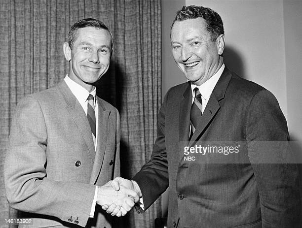 Host Johnny Carson NBC president Julian Goodman during a signing of Johny Carson's Tonight Show contract in 1966