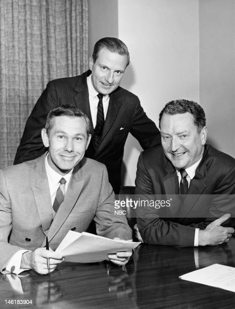 Host Johnny Carson NBC Television President Don Durgin NBC president Julian Goodman during a signing of Johny Carson's Tonight Show contract in 1966