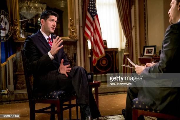 House Speaker Paul Ryan and moderator Chuck Todd appear in a pre taped interview on 'Meet the Press' in Washington DC Friday February 3 2017