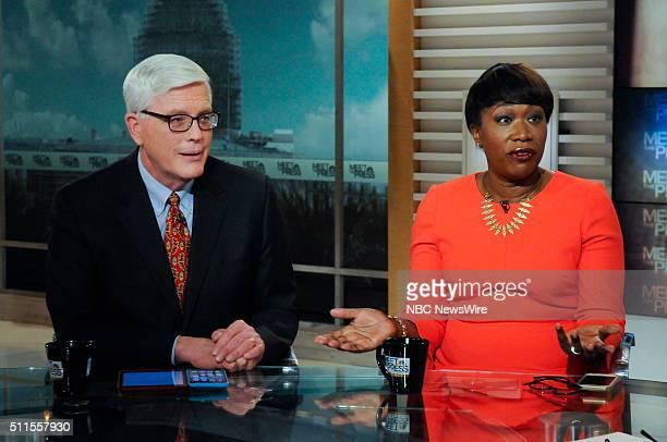 "Pictured: Hugh Hewitt, Host, ""The Hugh Hewitt Show,"" left, and Joy-Ann Reid, National Correspondent, MSNBC, right, appear on ""Meet the Press"" in..."