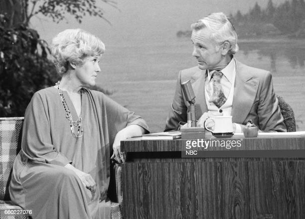Pictured: Humorist Erma Bombeck during an interview with Host Johnny Carson on September 8th, 1976--