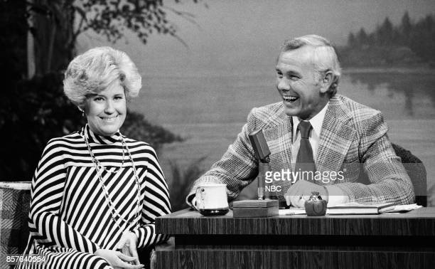 Pictured: Humorist Erma Bombeck during an interview with host Johnny Carson on February 3, 1977 --