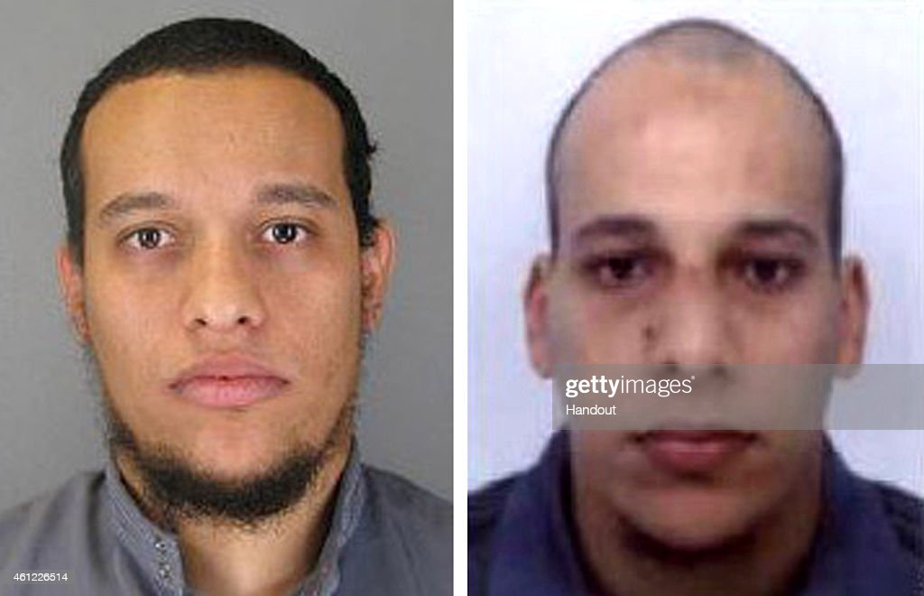 Pictured in this composite of handout photos provided by the Direction centrale de la Police judiciaire on January 8, 2015 are suspect Said Kouachi, aged 34, (L) and suspect Cherif Kouachi, aged 32, who are both wanted in connection with an attack at the satirical weekly Charlie Hebdo. Twelve people were killed yesterday including two police officers as two gunmen opened fire at the offices of the French satirical publication on January 7, 2015. On January 8 French police published photos of two brothers wanted as suspects over the massacre at the magazine.