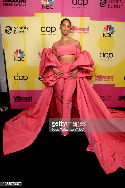Pictured: In this image released on May 23, Alicia Keys arrives to the 2021 Billboard Music Awards, broadcast on May 23, 2021 at Microsoft Theater in...