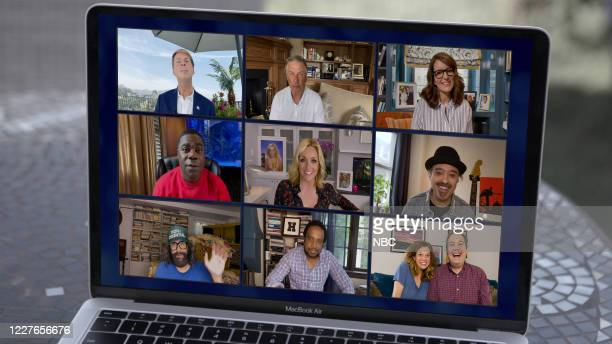 Pictured in this screen grab: Top Row - Jack McBrayer as Kenneth Parcell, Alec Baldwin as Jack Donaghy, Tina Fey as Liz Lemon; Middle Row - Tracy...