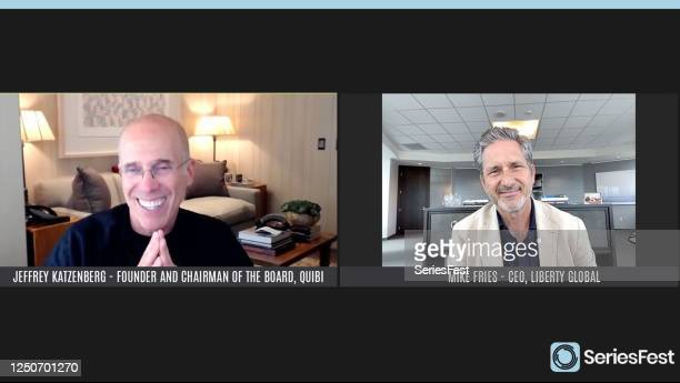 Pictured in this screengrab Panelists Founder and Chairman of the Board Quibi Jeffrey Katzenberg and CEO Liberty Global Mike Fries speak during an...