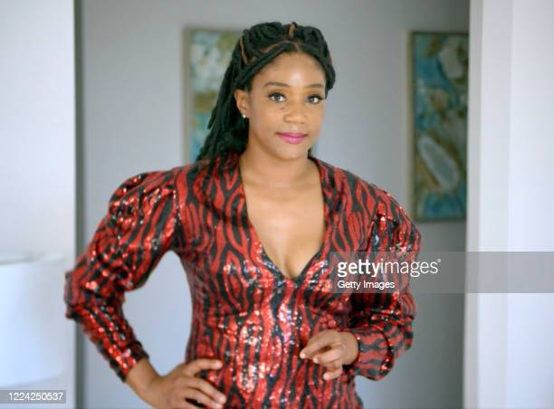 Pictured in this screengrab Tiffany Haddish performs on Byron Allen's Feeding America Comedy Festival coproduced by Entertainment Studios and Funny...