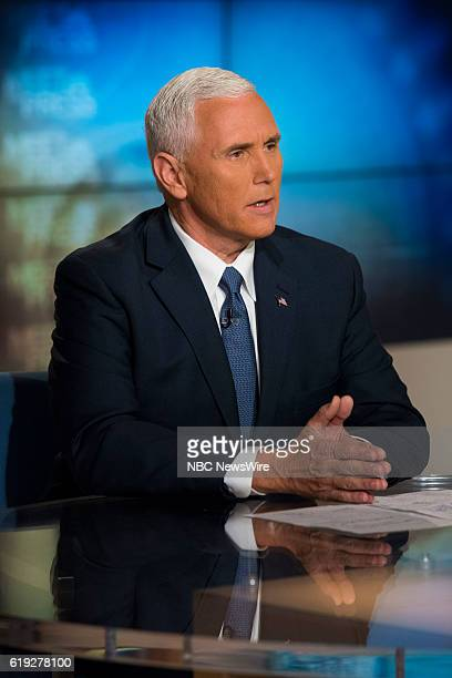 Indiana Gov and Republican Vice Presidential Nominee Mike Pence appears on 'Meet the Press' in Washington DC Sunday Oct 30 2016