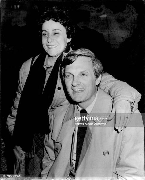 Pictured is Alan Alda star of the TV series MASH on his arrival at Sydney Airport tonight with him is his wife Arlene Alan Alda the star of...