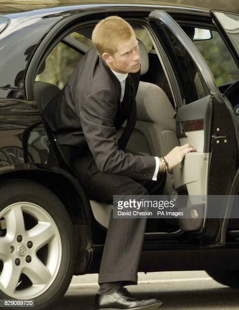 Pictured is Prince Harry arriving at the funeral of their grandmother Frances ShandKydd at St Columba's Cathedral in the town of Oban