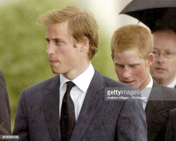 Pictured is Prince William and Prince Harry arriving at the funeral of their grandmother Frances ShandKydd at St Columba's Cathedral in the town of...