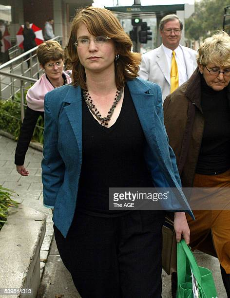 Pictured is Sarah Moore leaving the Ringwood Court She was a victim of The Family led by Anne HamiltonByrne today on 30th June 2005 THE AGE NEWS...