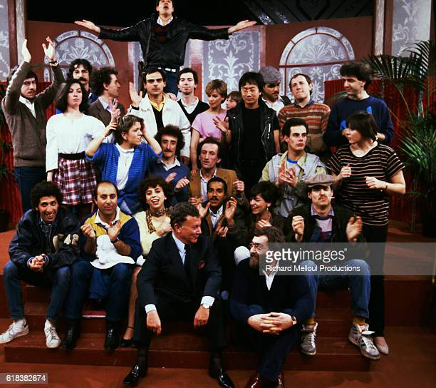 Pictured is the cast from the French television show, Le Theatre de Bouvard. Included are Richard Taxi, Pascal Legitimus, Michele Bernier, Seymour...