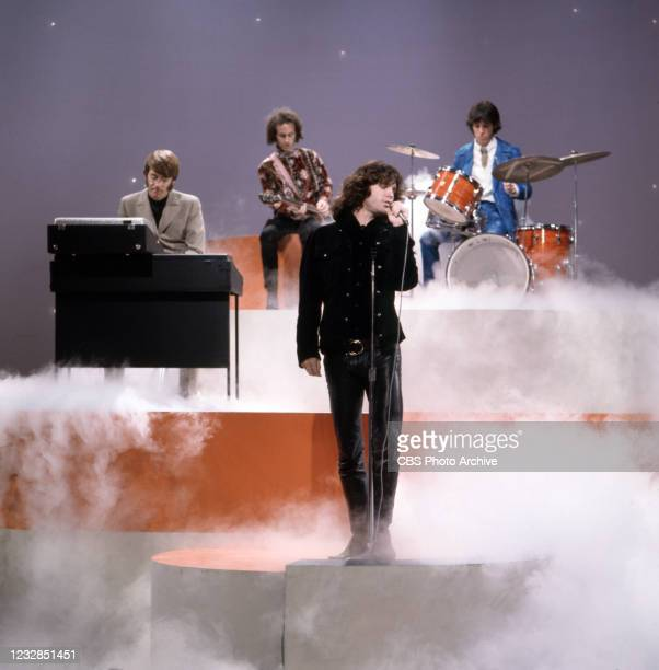 Pictured is The Doors, featuring Jim Morrison, guests on THE JONATHAN WINTERS SHOW. Premiere episode: December 27, 1967.
