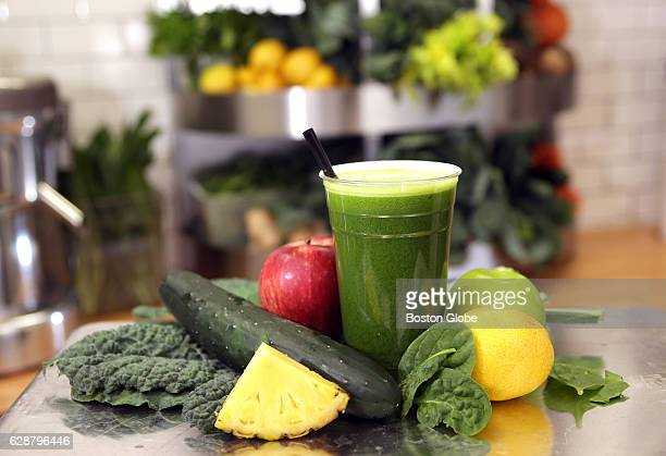 Pictured is the Easy Green kale spinach cucumber apple pineapple lemon at Revolution Juice in Boston on Jul 23 2015