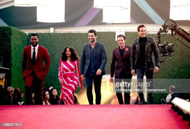 Isaiah Mustafa Alisha Wainwright Matthew Daddario Dominic Sherwood and Alberto Rosende arrive to the 2018 E People's Choice Awards held at the Barker...