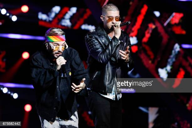 J Balvin and Bad Bunny perform during rehearsals at the Watsco Center in the University of Miami Coral Gables Florida on April 26 2017