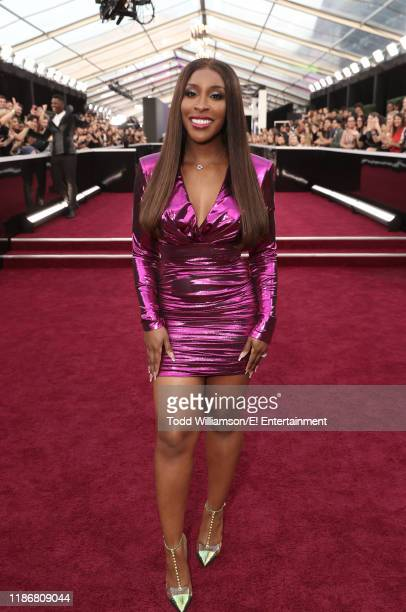 Jackie Aina arrives to the 2019 E People's Choice Awards held at the Barker Hangar on November 10 2019 NUP_188990