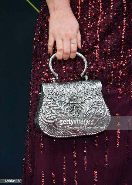 Jaicy Elliot purse detail arrives to the 2019 E People's Choice Awards held at the Barker Hangar on November 10 2019 NUP_188989
