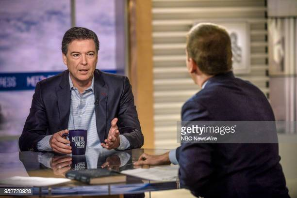 James Comey Former FBI Director and moderator Chuck Todd appear on Meet the Press in Washington DC Sunday April 29 2018