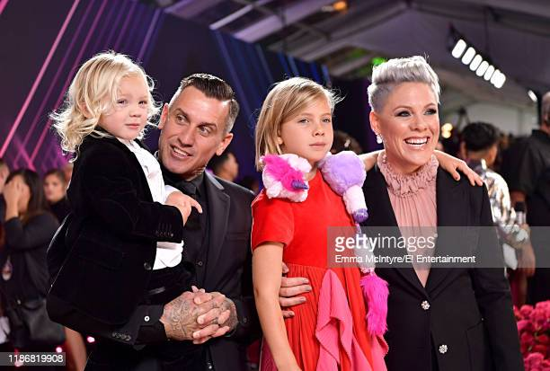 Pictured: Jameson Hart, Carey Hart, Willow Sage Hart and Pink arrive to the 2019 E! People's Choice Awards held at the Barker Hangar on November 10,...