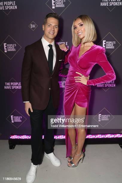 Pictured: Jason Kennedy and Giuliana Rancic pose backstage during the 2019 E! People's Choice Awards held at the Barker Hangar on November 10, 2019...