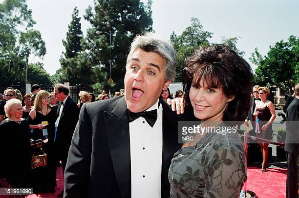 Jay Leno Mavis Leno arrive at the 50th Annual Primetime Emmy Awards held at the Shrine Auditorium in Los Angeles CA on September 13 1998