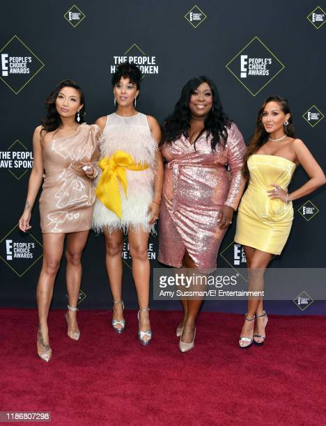 Jeannie Mai Tamera MowryHousley Loni Love and Adrienne Houghton arrive to the 2019 E People's Choice Awards held at the Barker Hangar on November 10...