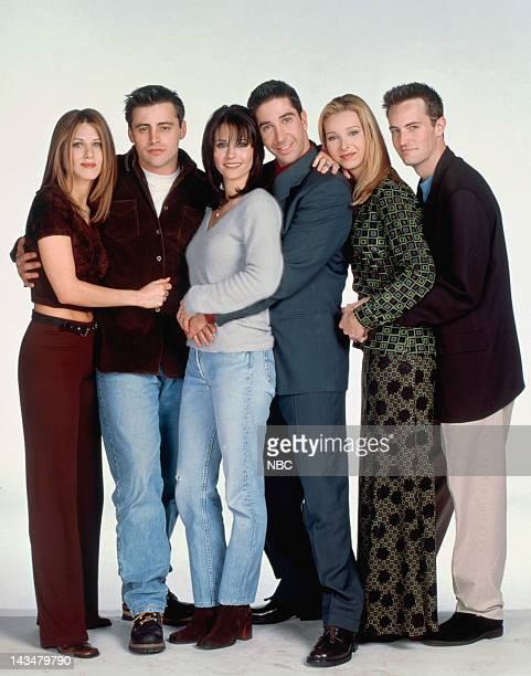 Jennifer Aniston as Rachel Green, Matt LeBlanc as Joey Tribbiani, Courteney Cox Arquette as Monica Geller, David Schwimmer as Ross Geller, Lisa...