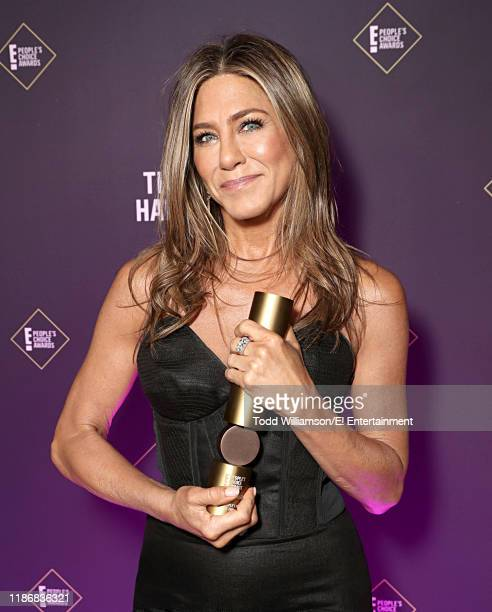 Jennifer Aniston poses backstage during the 2019 E People's Choice Awards held at the Barker Hangar on November 10 2019 NUP_188991