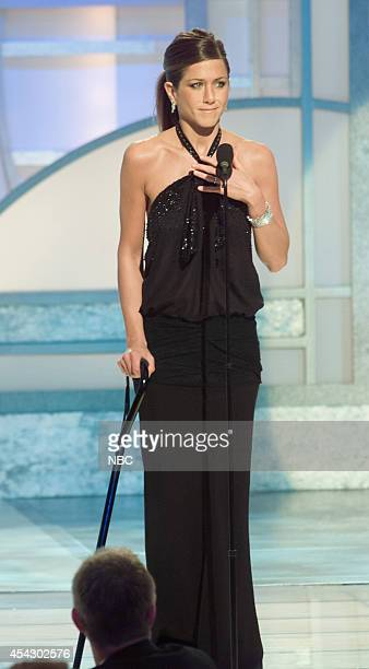 Jennifer Aniston speaks on stage at the 60th Annual Golden Globe Awards held at the Beverly Hilton Hotel on January 19 2003