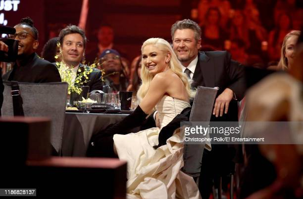Jimmy Fallon Gwen Stefani and Blake Shelton attend the 2019 E People's Choice Awards held at the Barker Hangar on November 10 2019 NUP_188993