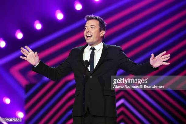 Jimmy Fallon speaks on stage during the 2018 E People's Choice Awards held at the Barker Hangar on November 11 2018 NUP_185094