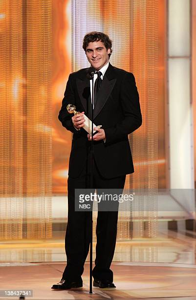 Joaquin Phoenix on stage during The 63rd Annual Golden Globe Awards at the Beverly Hilton Hotel