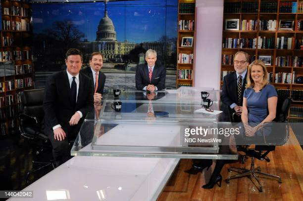 Joe Scarborough Host MSNBC's Morning Joe left Chuck Todd Political Director NBC News left rear moderator David Gregory center Mike Murphy Republican...