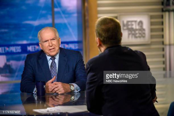"""Pictured: John Brennan, Former CIA Director and moderator Chuck Todd appear on """"Meet the Press"""" in Washington, D.C., Sunday October 6, 2019."""