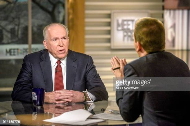 John Brennan Former CIA Director and moderator Chuck Todd appear on 'Meet the Press' in Washington DC Sunday Feb 4 2018
